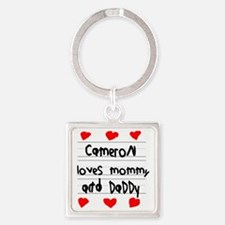 Cameron Loves Mommy and Daddy Square Keychain