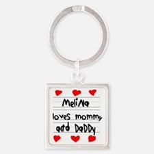 Melina Loves Mommy and Daddy Square Keychain
