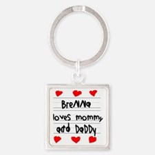 Brenna Loves Mommy and Daddy Square Keychain