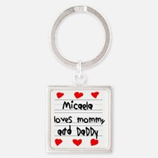 Micaela Loves Mommy and Daddy Square Keychain