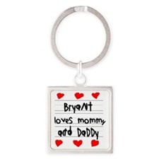 Bryant Loves Mommy and Daddy Square Keychain
