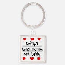 Caitlyn Loves Mommy and Daddy Square Keychain