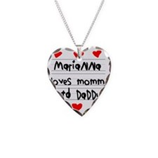 Marianna Loves Mommy and Dadd Necklace Heart Charm