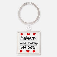 Marianna Loves Mommy and Daddy Square Keychain