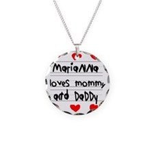 Marianna Loves Mommy and Dad Necklace Circle Charm