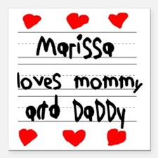 """Marissa Loves Mommy and  Square Car Magnet 3"""" x 3"""""""