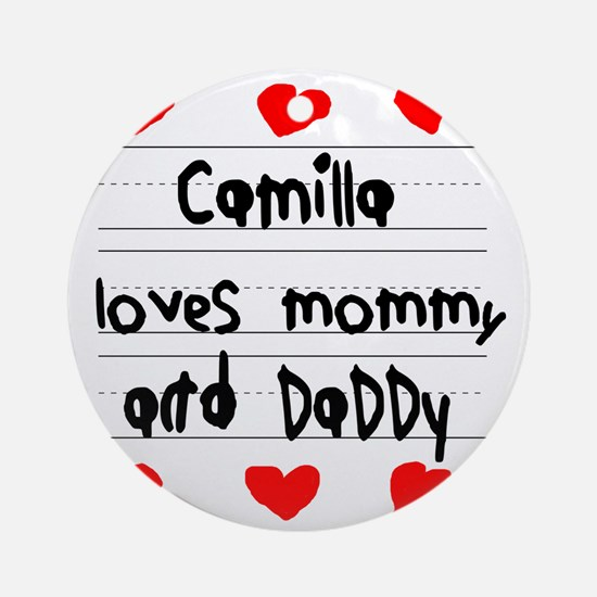 Camilla Loves Mommy and Daddy Round Ornament