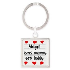 Abigail Loves Mommy and Daddy Square Keychain