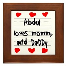 Abdul Loves Mommy and Daddy Framed Tile