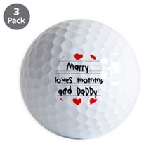 Marry Loves Mommy and Daddy Golf Ball