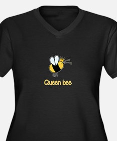 Queen Bee Women's Plus Size V-Neck Dark T-Shirt