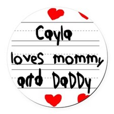 Cayla Loves Mommy and Daddy Round Car Magnet