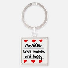 Monique Loves Mommy and Daddy Square Keychain