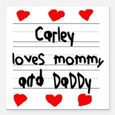 """Carley Loves Mommy and D Square Car Magnet 3"""" x 3"""""""