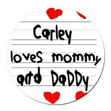 Carley Loves Mommy and Daddy Round Car Magnet