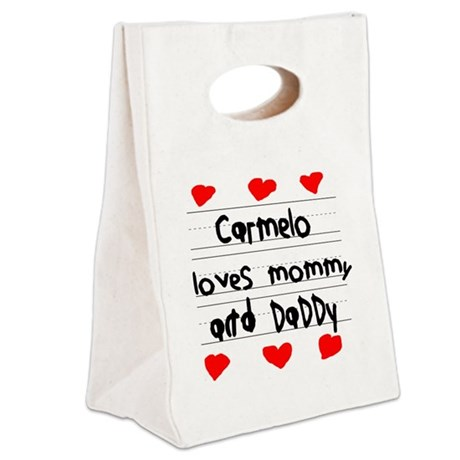 Carmelo Loves Mommy and Daddy Canvas Lunch Tote