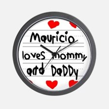 Mauricio Loves Mommy and Daddy Wall Clock