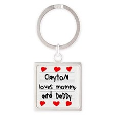 Clayton Loves Mommy and Daddy Square Keychain