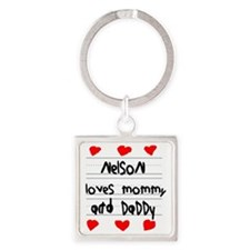 Nelson Loves Mommy and Daddy Square Keychain