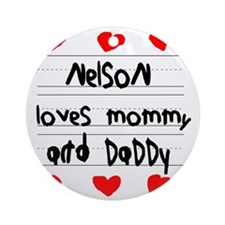 Nelson Loves Mommy and Daddy Round Ornament
