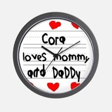 Cora Loves Mommy and Daddy Wall Clock