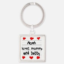 Noah Loves Mommy and Daddy Square Keychain