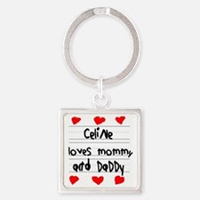 Celine Loves Mommy and Daddy Square Keychain