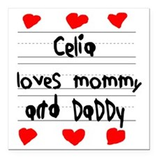 "Celia Loves Mommy and Da Square Car Magnet 3"" x 3"""