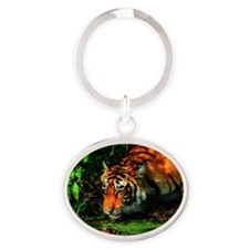 Tiger Reflection Oval Keychain