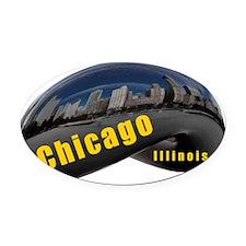 ChicagoBean_Rectangle Oval Car Magnet