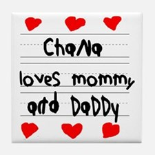 Chana Loves Mommy and Daddy Tile Coaster