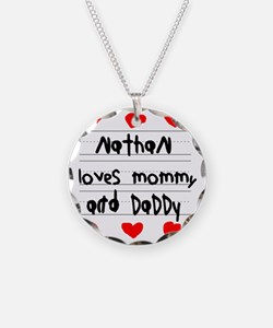 Nathan Loves Mommy and Daddy Necklace Circle Charm