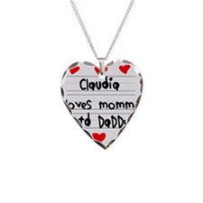 Claudia Loves Mommy and Daddy Necklace Heart Charm