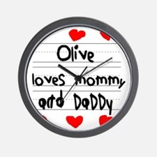 Olive Loves Mommy and Daddy Wall Clock