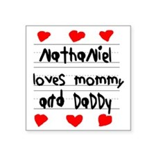 """Nathaniel Loves Mommy and D Square Sticker 3"""" x 3"""""""