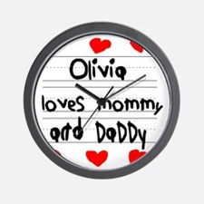 Olivia Loves Mommy and Daddy Wall Clock