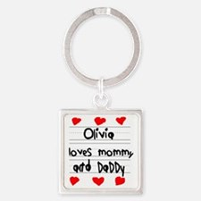 Olivia Loves Mommy and Daddy Square Keychain
