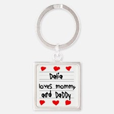 Dalia Loves Mommy and Daddy Square Keychain