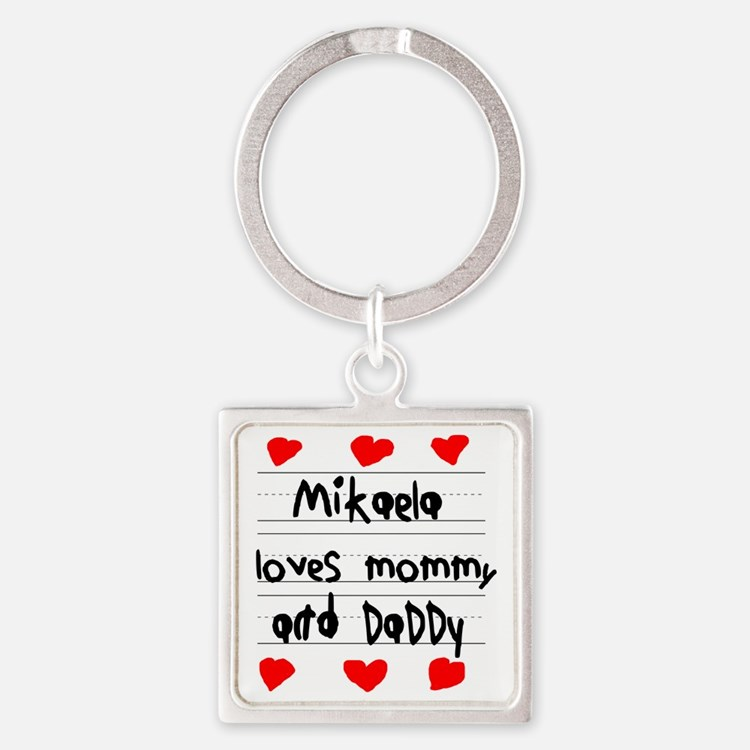 Mikaela Loves Mommy and Daddy Square Keychain