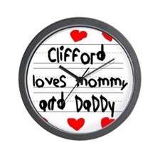 Clifford Loves Mommy and Daddy Wall Clock