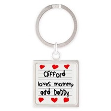 Clifford Loves Mommy and Daddy Square Keychain
