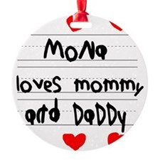 Mona Loves Mommy and Daddy Ornament