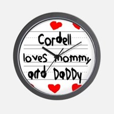 Cordell Loves Mommy and Daddy Wall Clock