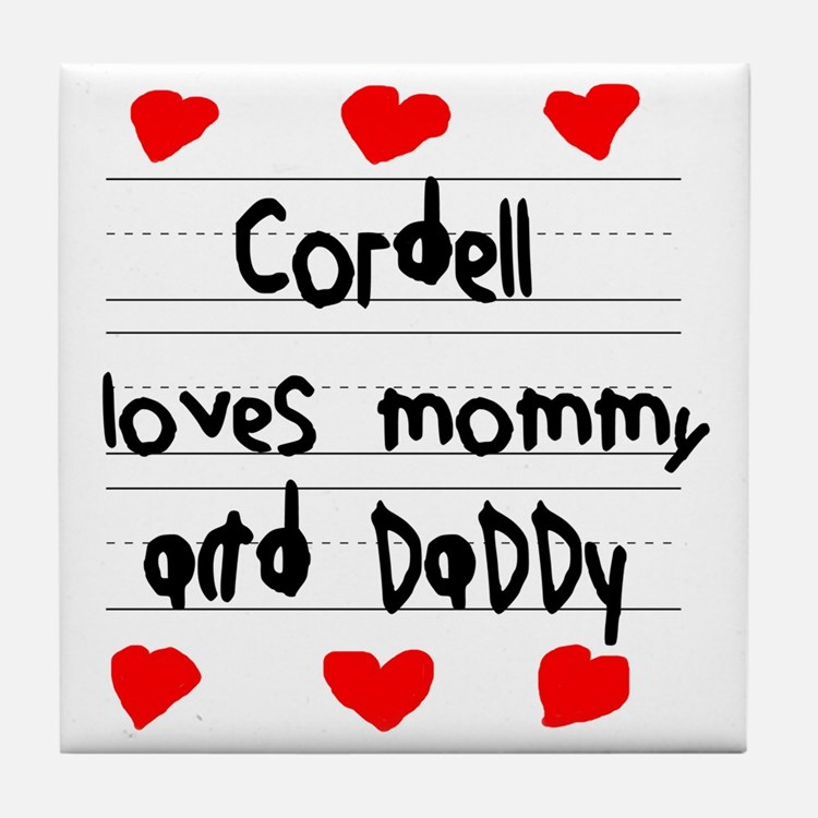 Cordell Loves Mommy and Daddy Tile Coaster