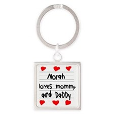 Norah Loves Mommy and Daddy Square Keychain