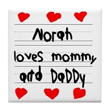 Norah Loves Mommy and Daddy Tile Coaster