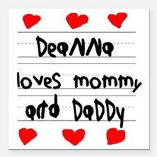 """Deanna Loves Mommy and D Square Car Magnet 3"""" x 3"""""""