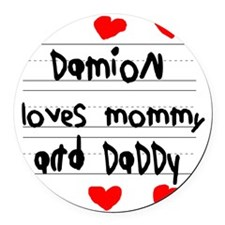 Damion Loves Mommy and Daddy Round Car Magnet