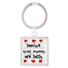 Damion Loves Mommy and Daddy Square Keychain