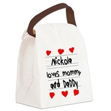Nickola Loves Mommy and Daddy Canvas Lunch Bag